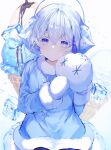 1other bangs blue_dress blush cookie_run dress earmuffs fur-trimmed_dress fur-trimmed_sleeves fur_trim gloves highres ice ice_cream_cone ice_cube long_sleeves looking_at_viewer mittens noyu_(noyu23386566) other_focus short_hair sitting snow snow_sugar_cookie snowflakes solo sparkle white_dress white_eyes white_gloves white_hair