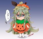 1girl artist_name bangs blue_background braid commentary_request full_body gradient gradient_background green_eyes green_hair grey_background hair_between_eyes hair_flaps hair_ornament hair_ribbon hairclip halloween halloween_costume hokuna_rin jack-o'-lantern kantai_collection long_hair looking_at_viewer one-hour_drawing_challenge parted_bangs ponytail pumpkin_costume pumpkin_hat remodel_(kantai_collection) ribbon sidelocks solo twin_braids yamakaze_(kancolle)