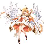 1girl angel_wings ark_order artist_request bangs black_footwear blonde_hair bow bracelet cape dress dress_bow feathered_wings full_body gold_trim holding holding_wand iris_(ark_order) jewelry long_hair looking_at_viewer low_twintails multicolored_eyes official_art orange_bow rainbow shoes sidelocks sleeveless sleeveless_dress solo tachi-e transparent_background twintails very_long_hair violet_eyes wand white_cape white_dress white_wings wings yellow_eyes