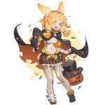 1girl :d animal_ears arknights bandage_over_one_eye bandaged_arm bandages blonde_hair blush breasts cape closed_eyes full_body hair_ornament halloween highres jack-o'-lantern kroos_(arknights) kroos_(the_mag)_(arknights) navel nemo_(leafnight) open_clothes open_shirt pantyhose rabbit_ears sarashi simple_background skeleton_print skull_hair_ornament small_breasts smile solo stomach torn_clothes white_background