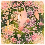 border commentary_request flower from_above grass grey_eyes highres holding holding_flower mew no_humans oharu-chan painting_(medium) pink_flower pokemon pokemon_(creature) solo traditional_media watercolor_(medium) white_border