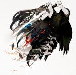 1girl bird black_hair black_nails blue_eyes crow hiko_(lg612) katana long_hair nail_polish original simple_background solo sword weapon white_background