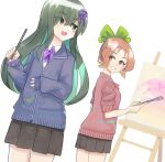 2girls alternate_costume bangs black_skirt blue_cardigan blush bow bowtie breasts brown_hair canvas_(object) cardigan character_request collared_shirt colored_inner_hair commentary_request cowboy_shot crossed_bangs dutch_angle easel eye_contact eyebrows_visible_through_hair flat_chest from_behind green_bow green_eyes green_hair grin hair_between_eyes hair_bow hand_up hands_up happy highres holding holding_paintbrush jpeg_artifacts komuro_takahiro kugui_(world_flipper) legs_together light_blush long_hair looking_at_another looking_back miniskirt multicolored_hair multiple_girls open_mouth paint_on_clothes paint_splatter paintbrush painting pleated_skirt purple_bow purple_bowtie red_cardigan school_uniform shiny shiny_hair shirt short_hair short_sleeves sidelocks simple_background skirt sleeves_past_wrists sleeves_rolled_up small_breasts smile standing teeth two-tone_hair white_background white_shirt world_flipper yellow_eyes