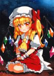 1girl ascot back_bow blonde_hair bow collared_shirt crystal dark_background eyebrows_visible_through_hair fang flandre_scarlet frilled_ascot frilled_skirt frills full_body hair_between_eyes hair_bow hat kneehighs long_hair looking_at_viewer mob_cap no_shoes on_floor open_mouth orange_eyes puffy_short_sleeves puffy_sleeves qqqrinkappp rainbow_order red_bow red_skirt red_vest seiza shirt short_sleeves side_ponytail sitting skin_fang skirt skirt_set solo touhou traditional_media vest white_bow white_legwear white_shirt wings wrist_cuffs yellow_ascot
