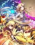 2girls bangs black_bodysuit blonde_hair blue_neckwear bodysuit breasts bridal_gauntlets collared_dress commentary_request detached_sleeves electricity energy_ball fingernails floating floating_hair floating_object forehead_jewel frilled_sleeves frills gold_trim hair_between_eyes japanese_clothes kikuri_(touhou) kimono large_breasts light_particles long_hair looking_at_viewer multiple_girls necktie parted_bangs ponytail red_eyes ribbon-trimmed_sleeves ribbon_trim sea_scorpion_(umisasori) serious sidelocks tiara touhou touhou_(pc-98) wide_sleeves wing_collar yellow_kimono yuugenmagan