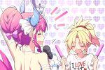 2girls artist_name blonde_hair blush closed_eyes earrings elizabeth_bathory_(cinderella_rider)_(fate) elizabeth_bathory_(fate) fang fate/grand_order fate_(series) gloves glowstick hair_bun heart heart_background highres horns jewelry microphone mordred_(fate) multiple_girls pink_hair ponytail sakura_tsubame tiara white_gloves