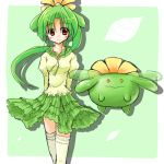 brown_eyes creature dress green green_hair long_hair lowres moemon personification pokemon pokemon_(game) pokemon_gsc ponytail ranphafranboise skiploom smile tenjou_ryuka thighhighs white_legwear