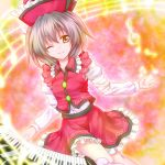 brown_hair frills hat instrument kamumiya keyboard keyboard_(instrument) lyrica_prismriver musical_note solo touhou wink
