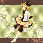 bad_id blonde_hair blue_eyes boots casual hair_ornament hair_ribbon hairclip headphones kagamine_rin m_eme pantyhose plaid ribbon solo star tartan vocaloid