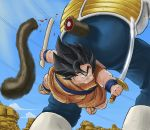armor black_hair blood courage cuts dragon_ball dragon_ball_z dragonball dragonball_z fat fur injury katana long_hair male monkey oozaru sandals sky spoilers sweatdrop sword tail vegeta vinc3412 weapon yajirobe