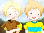 2boys blonde_hair boney child claus dog lucas mother_(game) mother_3 nintendo orange_hair pikanchu siblings striped striped_shirt twins