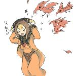 >_< bird brown_hair dress female final_fantasy final_fantasy_xi hat long_hair okiku open_mouth yve'noile