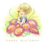 birthday butz_klauser closed_eyes cocura final_fantasy final_fantasy_v flower green_hair happy happy_birthday male short_hair smelling smile solo young