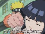 cap duo face_punching female fist hyuuga_hinata jinchuuriki male naruto punching short_hair spiky_hair subtitled uzumaki_naruto
