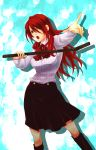 boots bow finger_point highres kirijou_mitsuru knee_boots lead_pipe long_hair matano_maya maya_(artist) open_mouth persona persona_3 pipe pointing red_eyes red_hair redhead ribbon school_uniform skirt