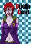 bare_shoulders bichiko cleavage dc_comics detached_sleeves duela_dent female lipstick midriff purple_skin redhead short_hair smile solo violet_eyes