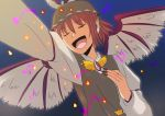 animal_ears claws closed_eyes hiromasa_(pixiv265599) long_nails musical_note mystia_lorelei nails outstretched_hand short_hair singing solo touhou wings