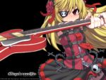 1girl blonde_hair chain electric_guitar eyepatch guitar instrument miniskirt original red_eyes skirt x6suke