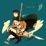 1boy ascot black_eyes black_hair boots cape dual_wielding hrmking jacket rivaille shingeki_no_kyojin solo sword weapon