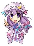 hair_ribbon hat long_hair open_mouth patchouli_knowledge pointing pure_(artist) purple_eyes purple_hair ribbon touhou violet_eyes