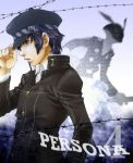 androgynous blue_hair cabbie_hat hat persona persona_4 realistic reverse_trap shirogane_naoto