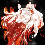bad_id fire fujiwara_no_mokou hair_ribbon long_sleeves naninabe pale_skin pointing ribbon solo touhou