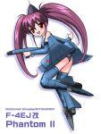 airplane f-4_phantom_ii jet mecha_musume military nou_shiroppu purple_hair simple_background twintails