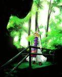 absurdres arm_support blonde_hair forest hat highres long_hair nature purple_eyes railing smile solo stairs sukocchi touhou turtleneck violet_eyes yakumo_yukari