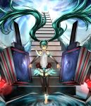 aqua_hair black_legwear closed_eyes eiji_(eiji) elbow_gloves floating green_hair hatsune_miku hatsune_miku_(append) legs long_hair miku_append necktie speaker stairs thigh_highs thighhighs toeless_socks twintails very_long_hair vocaloid vocaloid_append water zettai_ryouiki