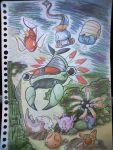 anorith corsola ebifly_(dokudoku) gorebyss huntail kabuto_(pokemon) lileep magikarp no_humans omanyte pokemon pokemon_(creature) relicanth scan staryu traditional_media underwater