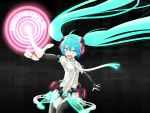 bad_id blue_eyes blue_hair bridal_gauntlets glowing hatsune_miku hatsune_miku_(append) kuinji_51go long_hair miku_append navel necktie panties pointing spring_onion striped striped_panties twintails underwear unzipped very_long_hair vocaloid vocaloid_append