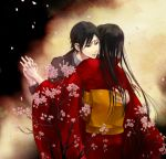 black_eyes black_hair brother_and_sister cherry_blossoms fatal_frame fatal_frame_4 haibara_sakuya haibara_you hands holding_hands hug japanese_clothes kimono koko_(oyasuminasai) long_hair short_hair siblings