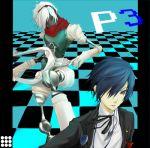 arisato_minato blue_hair hair_over_one_eye headphones male orpheus persona persona_3 school_uniform