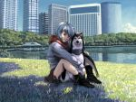 ayanami_rei blue_hair chimera city derivative_work dog evokid lake neon_genesis_evangelion parody penguin penpen penpen_(cosplay) red_eyes when_you_see_it