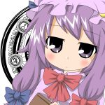 bow expressionless hair_bow hat hitotsume_chuu long_hair patchouli_knowledge purple_eyes purple_hair touhou violet_eyes