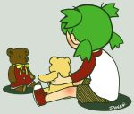 green_hair koiwai_yotsuba stuffed_animal stuffed_toy superdonut teddy_bear yotsubato!