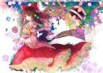 1girl ball bracelet brown_hair butterfly fish flower hakurei_reimu jewelry kazu_(muchuukai) leaf light_smile long_hair solo touhou violet_eyes