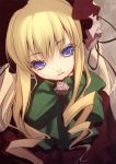 blonde_hair blue_eyes bonnet bow drill_hair flower hair_ribbon highres long_hair nilitsu ribbon rose rozen_maiden shinku