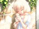 1girl 3: blonde_hair brick_wall cafe_sourire cat closed_eyes game_cg gayarou holding_cat kitten low_twintails ogiwara_kyouko solo twintails vines
