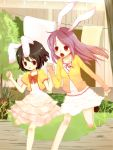 brown_hair bunny_ears frills inaba_tewi lissy long_hair purple_hair rabbit_ears red_eyes reisen_udongein_inaba riku_manoue short_hair touhou