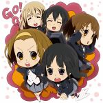 black_hair blonde_hair brown_eyes brown_hair chibi closed_eyes hajime_(hajime-ill-1st) hirasawa_yui k-on! kotobuki_tsumugi long_hair nakano_azusa pantyhose purple_eyes school_uniform short_hair tainaka_ritsu twintails violet_eyes