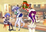 alternate_costume bat_wings black_legwear blue_eyes blush book boots bow braid cafe cooking enmaided falling frying_pan hair_bow hong_meiling hood izayoi_sakuya leaning_forward long_hair maid maid_headdress mary_janes multiple_girls patchouli_knowledge pia_carrot_e_youkoso!! purple_eyes red_eyes remilia_scarlet ribbon shoes short_hair thighhighs touhou twin_braids twintails very_long_hair white_legwear wings yellow_legwear yo-chaosangel zettai_ryouiki