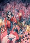 butterfly candle cherry_blossoms hannya hexagon highres japanese_clothes katana kimono mask oni_mask oriental_umbrella original parasol shuka_(taupe) skull solo sword traditional_media umbrella watercolor_(medium) weapon