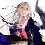 flower hairband long_hair mouth_hold red_eyes rozen_maiden suigintou tears white_hair wings