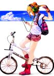 1girl backpack bag bicycle boots brown_hair clouds digital_media_player hair_tussle headphones phone shorts so-bin solo