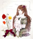 bow brown_hair flower food fruit hair_flower hair_ornament long_hair open_mouth original purple_eyes ribbon shikishima_(eiri) shikishima_(pixiv) smile solo strawberry stuffed_animal stuffed_toy twintails very_long_hair violet_eyes