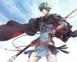 aqua_hair armor belt cape ephraim fire_emblem fire_emblem:_seima_no_kouseki fire_emblem_sacred_stones male polearm potassium77 solo spear weapon