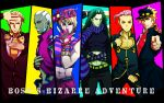 arms_up belt blonde_hair blue_eyes brown_eyes cars_(jojo) chest column_lineup cosplay covering_face dark_skin dio_brando enrico_pucci fingerless_gloves giorno_giovanna giorno_giovanna_(cosplay) gloves green_hair hat higashikata_jousuke higashikata_jousuke_(cosplay) honchu horns jojo_no_kimyou_na_bouken jonathan_joestar jonathan_joestar_(cosplay) joseph_joestar joseph_joestar_(cosplay) joseph_joestar_(young) joseph_joestar_(young)_(cosplay) kira_yoshikage kujo_jolyne_(cosplay) kuujou_jolyne kuujou_jolyne_(cosplay) kuujou_joutarou kuujou_joutarou_(cosplay) long_hair male midriff pink_eyes pink_hair pointing pose red_eyes scarf striped striped_scarf sweatdrop vinegar_doppio white_hair