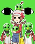 <o><o> 1girl brown_hair cabbie_hat eyes hat kotone_(pokemon) lowres natu no_nose overalls pokemon pokemon_(creature) pokemon_(game) pokemon_gsc sakurai_(kage) stare twintails xatu