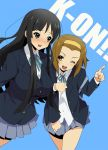 akiyama_mio arm_holding black_eyes black_hair blazer blush brown_eyes brown_hair judy_(artist) k-on! long_hair multiple_girls pointing school_uniform short_hair tainaka_ritsu wink